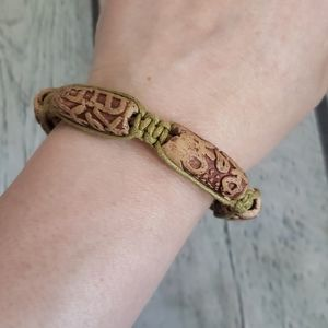 Vintage 90's Boho Hemp Bead Adjustable Bracelet